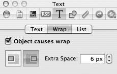 Рис. 9.68. Управление параметрами обтекания графических объектов текстом