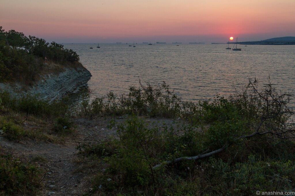 Закат, корабли, Геленджик, Черное море