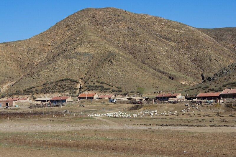 деревня и стадо в горах инь шань, внутренняя монголия, китай