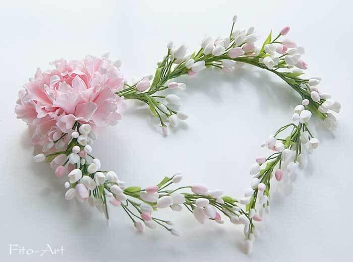 свадебный венок керамическая флористика