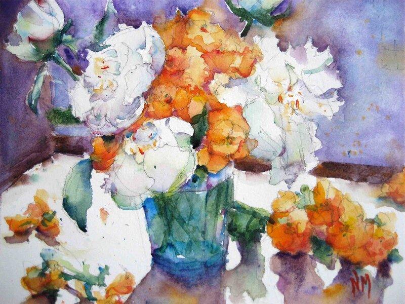 Акварель, натюрморт, цветы.