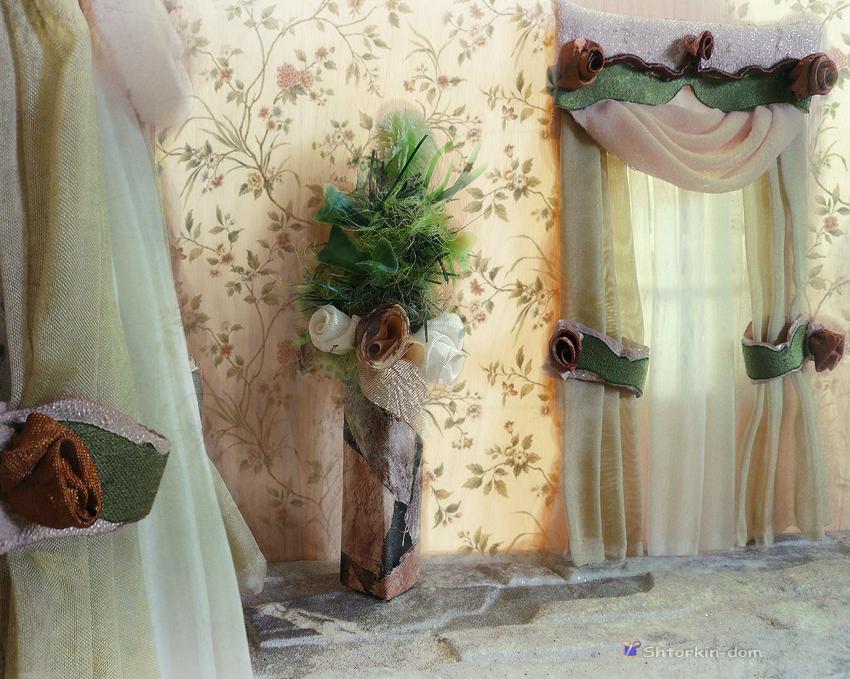 шторы для кукольного домика Олеси. комната 6