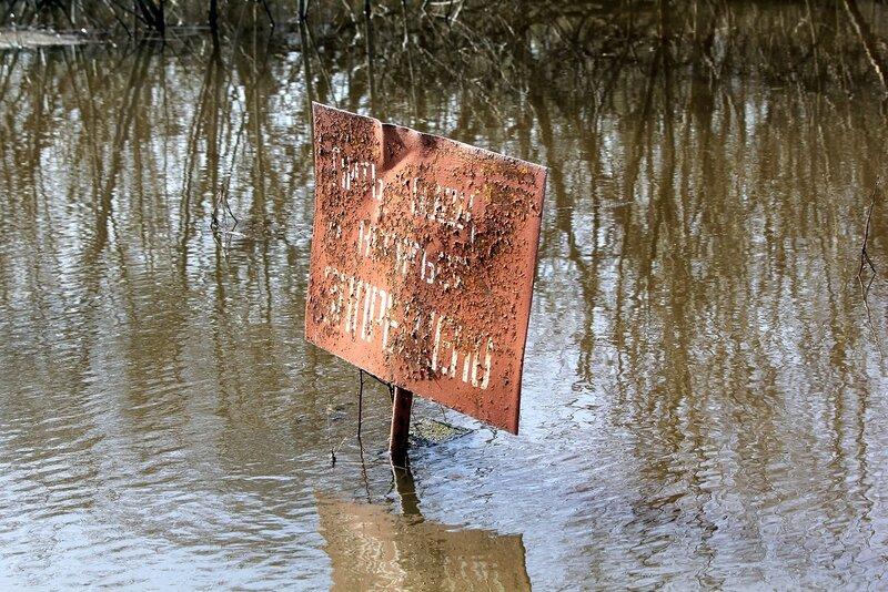 Табличка Пить воду и купаться запрещено в устье реки Елховки
