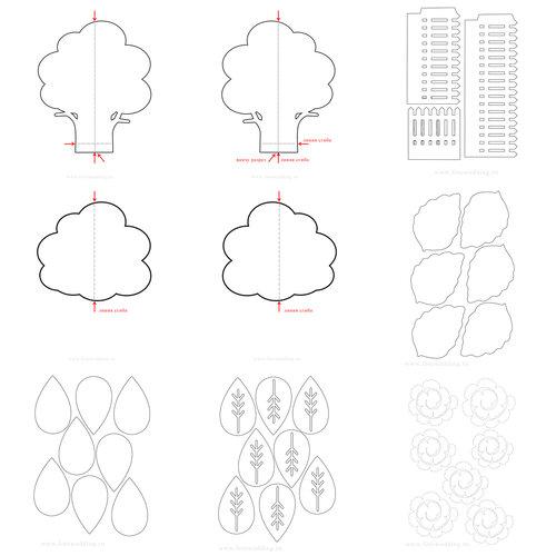 Схемы деревьев для вырезания из бумаги распечатать