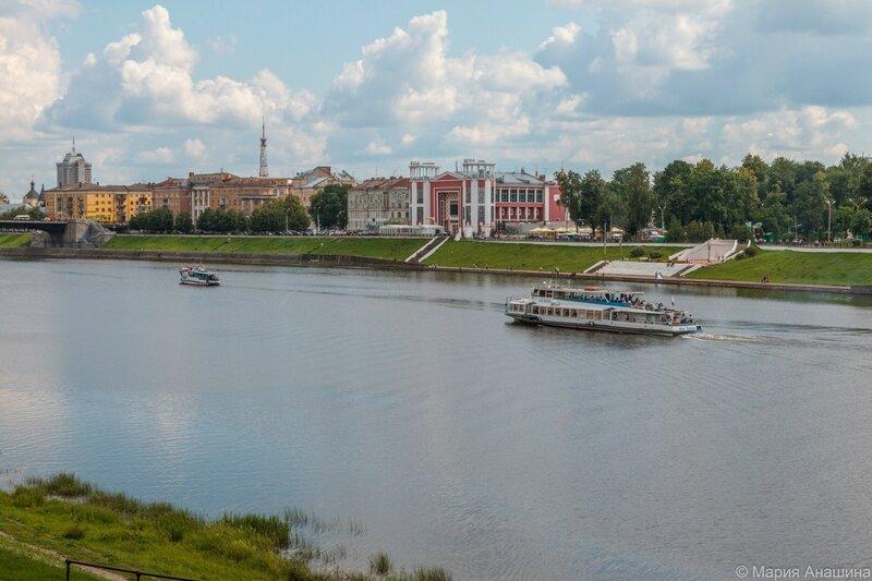 Панорама набережной Степана Разина и Городского сада, Тверь