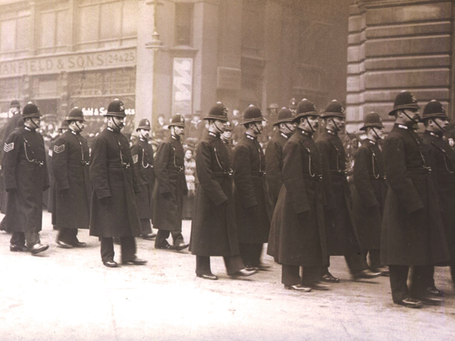 Police Officers marching at funeral