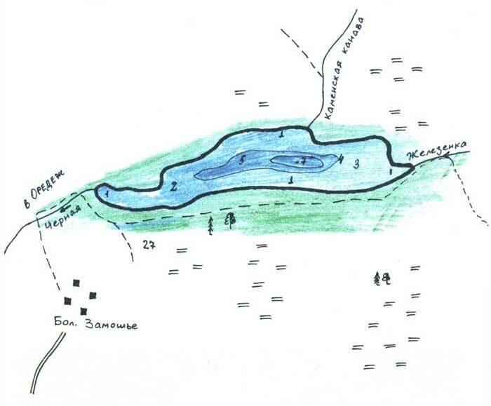 Рисунок озера Черное с глубинами Лужский район