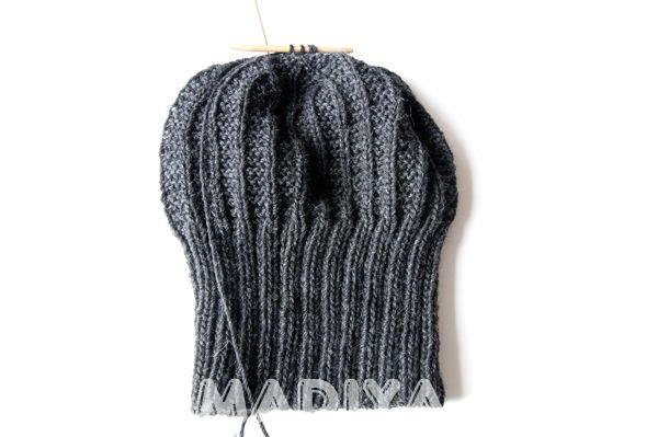 Вяжем мужскую шапку спицами.  Knitting needles Men's hats
