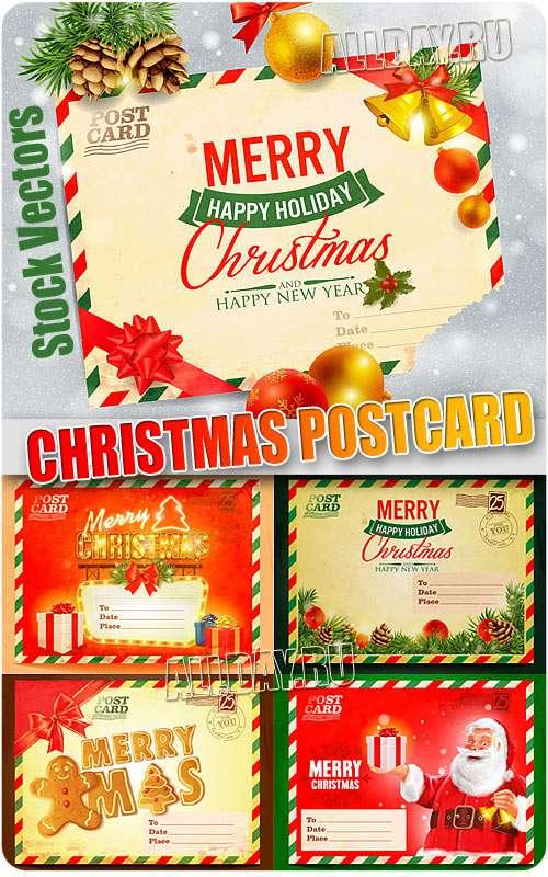 Новогодняя почтовая открытка - Векторный клипарт