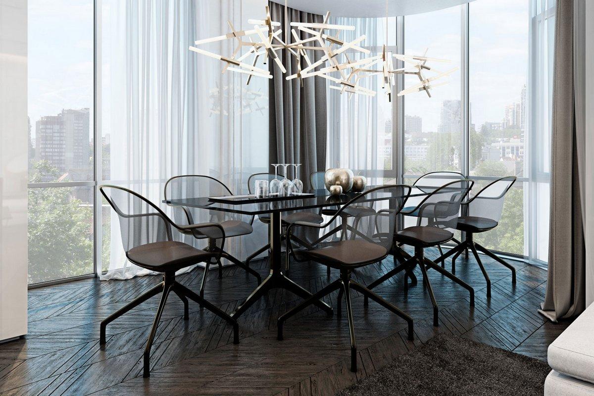 Обеденный стол с панорамой на город