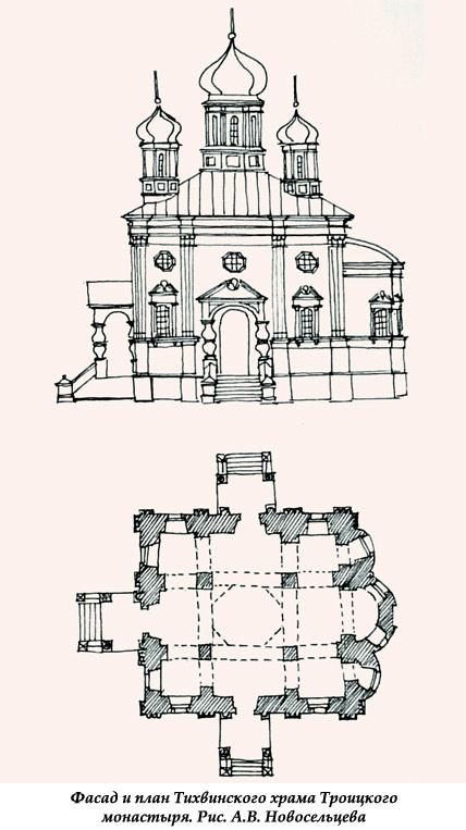 Фасад и план Тихвинского храма Троицкого монастыря