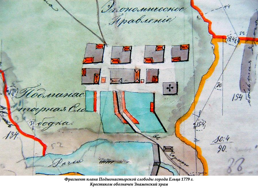 Фрагмент плана Подмонастырской слободы Ельца 1779 года