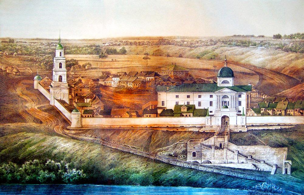 Знаменский монастырь Ельца на литографии