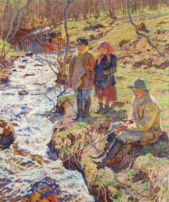 Ловля форели. 1920-е МН (Рыбалка. 1916 Х., м. 98x80).jpg