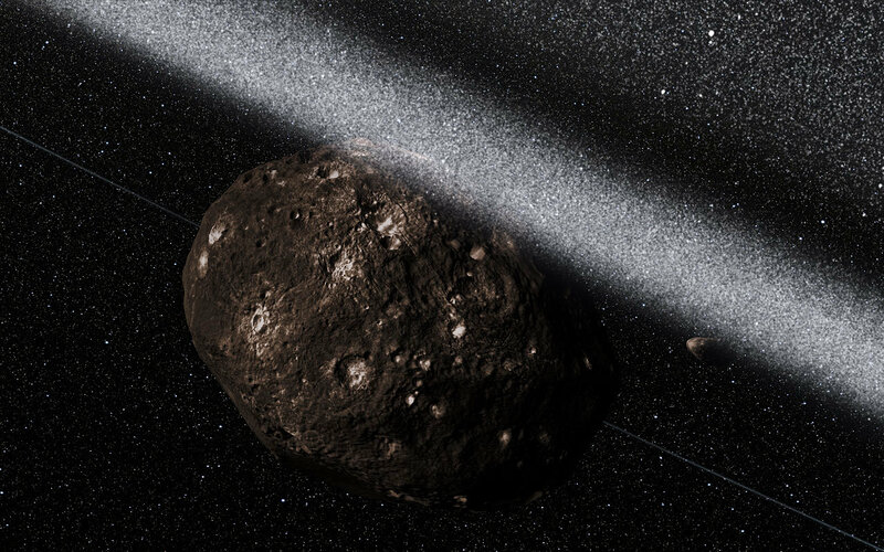 Artist's impression of the view from inside the rings around Chariklo