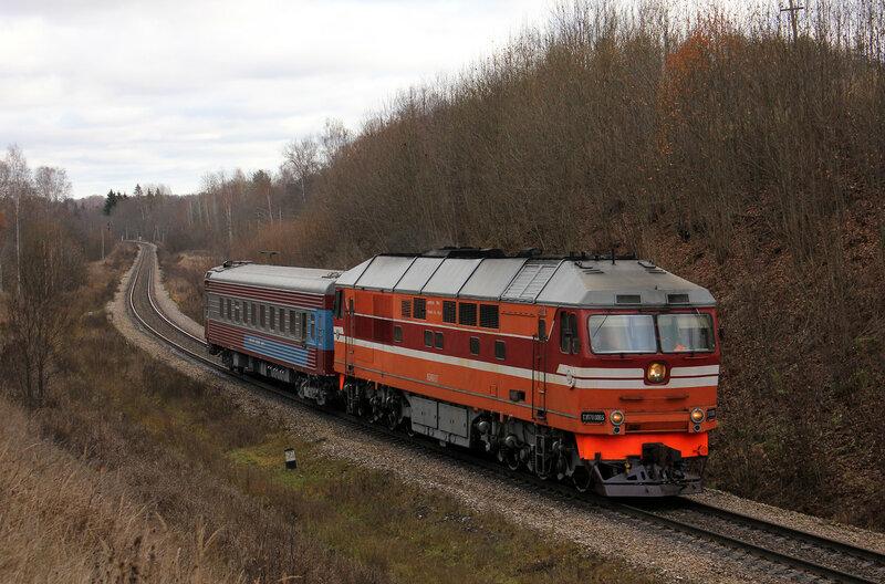 ТЭП70-0065 с путемером на перегоне Заваруйка - Себеж