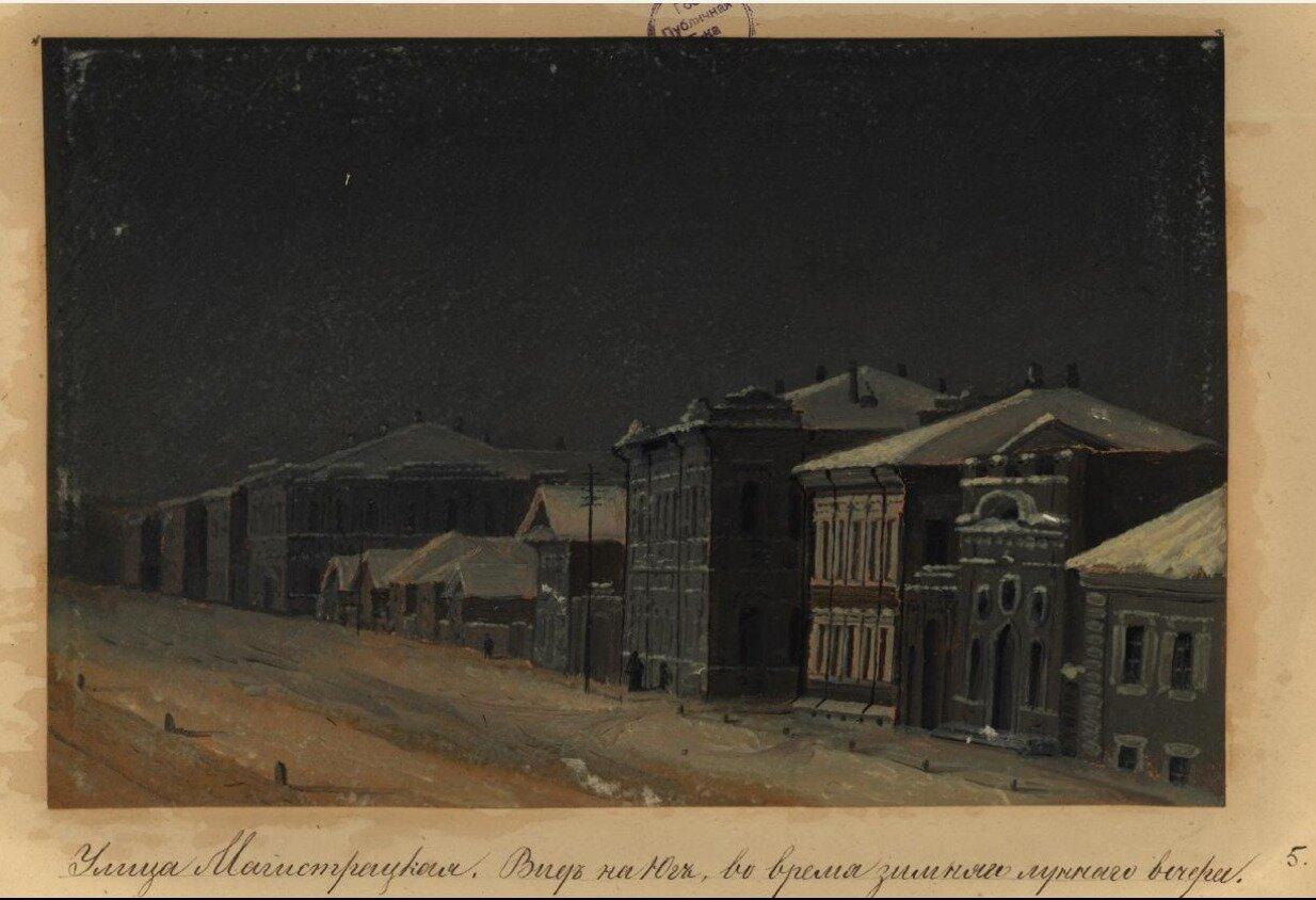 Улица Магистратская. Вид на юг, во время зимнего лунного вечера