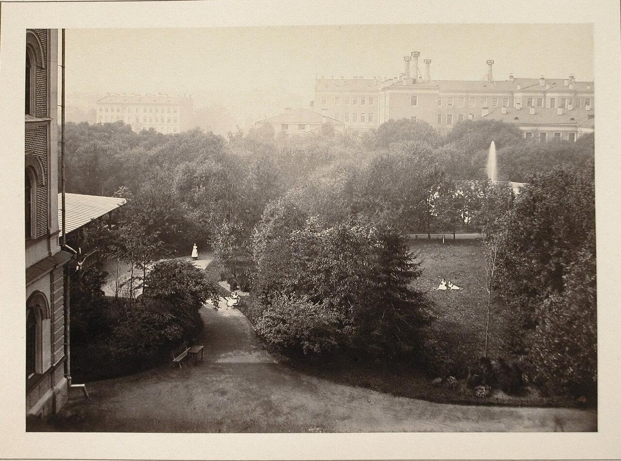 Вид на сад института с верхнего этажа здания