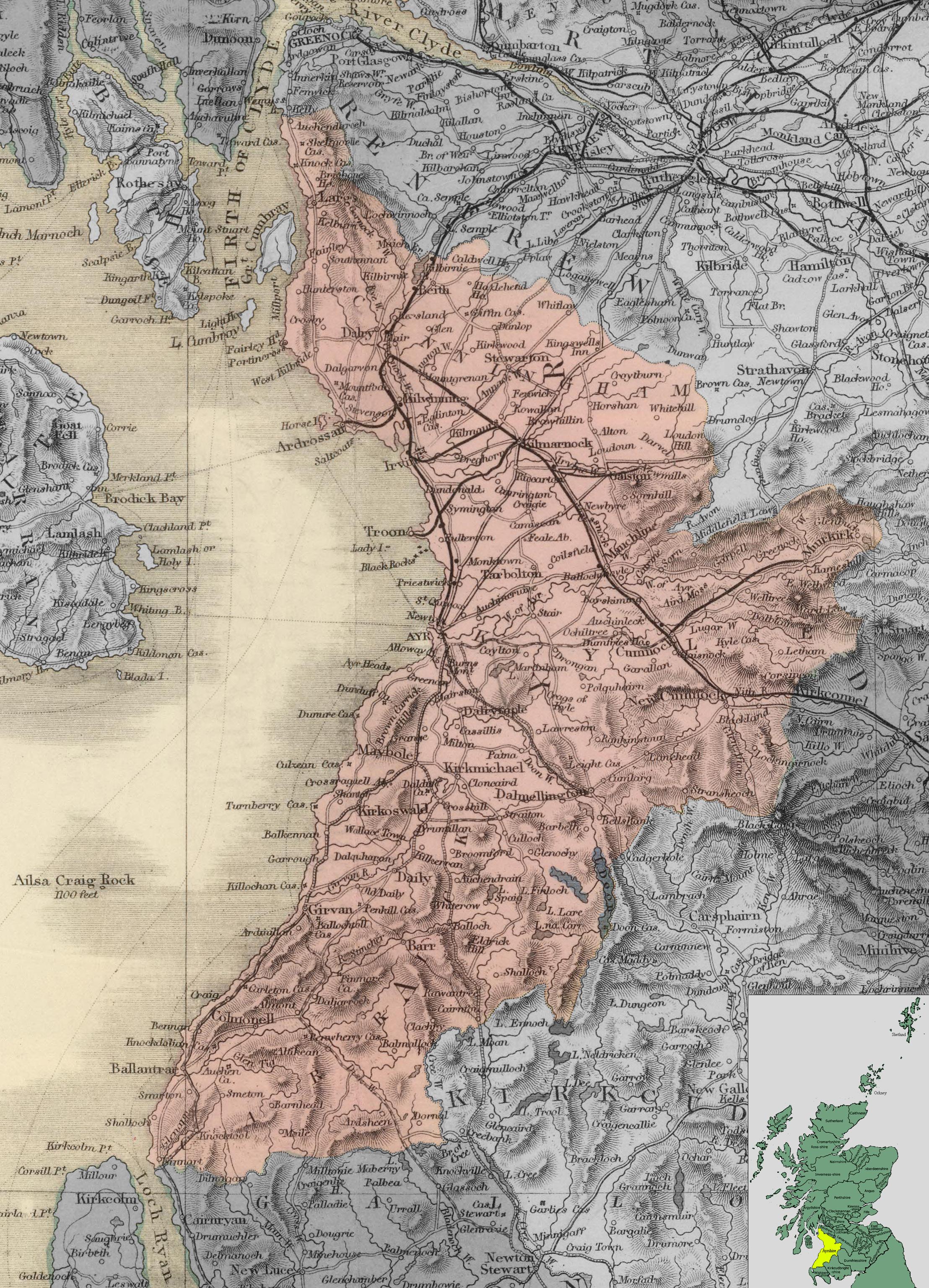 Карта Эйршира