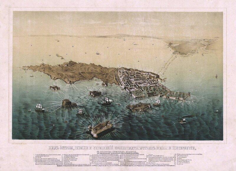 Вид острова, гавани и укреплений Кронштадта, устьев Невы и Петербурга, с высоты птичьего полета. 1855 год.