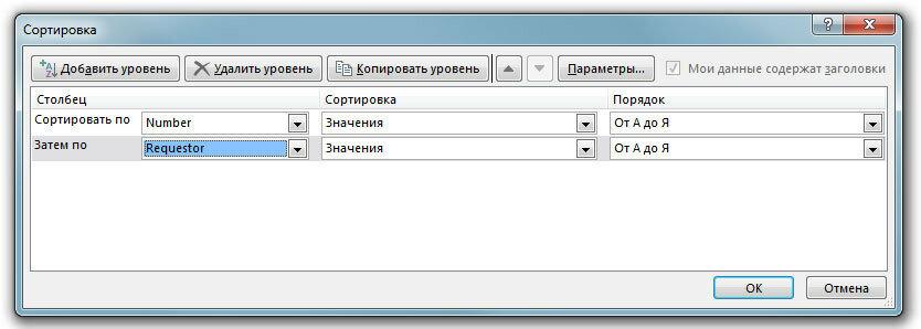 Рис. 8. Сортировку данных можно осуществлять сразу по нескольким столбцам электронной таблицы