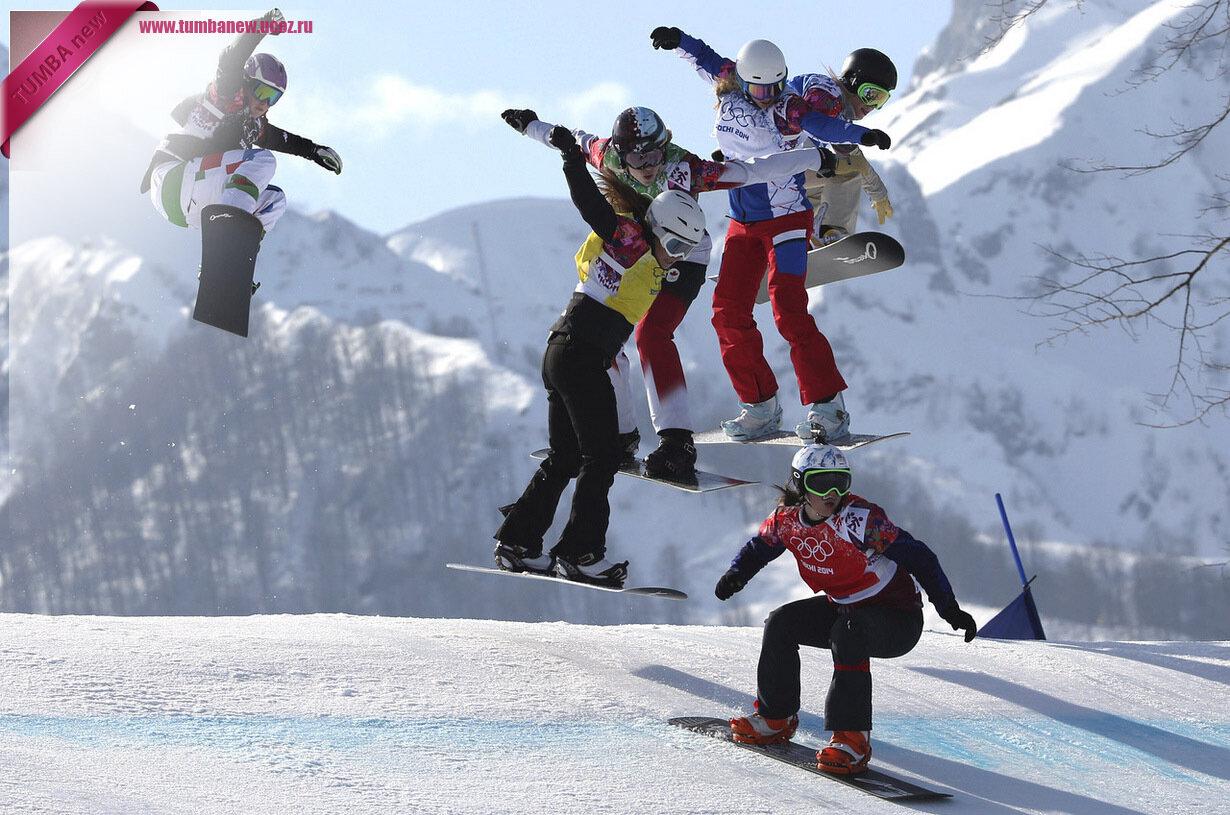 Россия. 16 февраля. Во время соревнования по сноуборд-кроссу. (AP Photo/Luca Bruno)