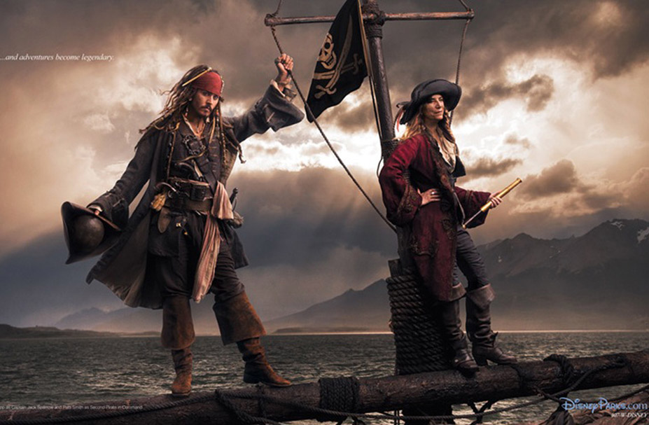 Disney's Year of a Million Dreams by Annie Leibovitz - Johnny Depp and Patti Smith as Captain Jack Sparrow and Second Pirate in Command / Джонни Депп и Пэтти Смит в образе Капитана Джека Воробья и другого пирата