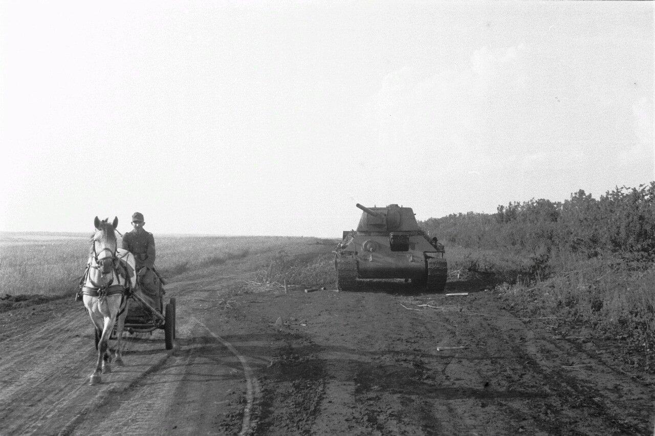 Белгородская область. Проселочная дорога с немецким танком и запряженной лошадью