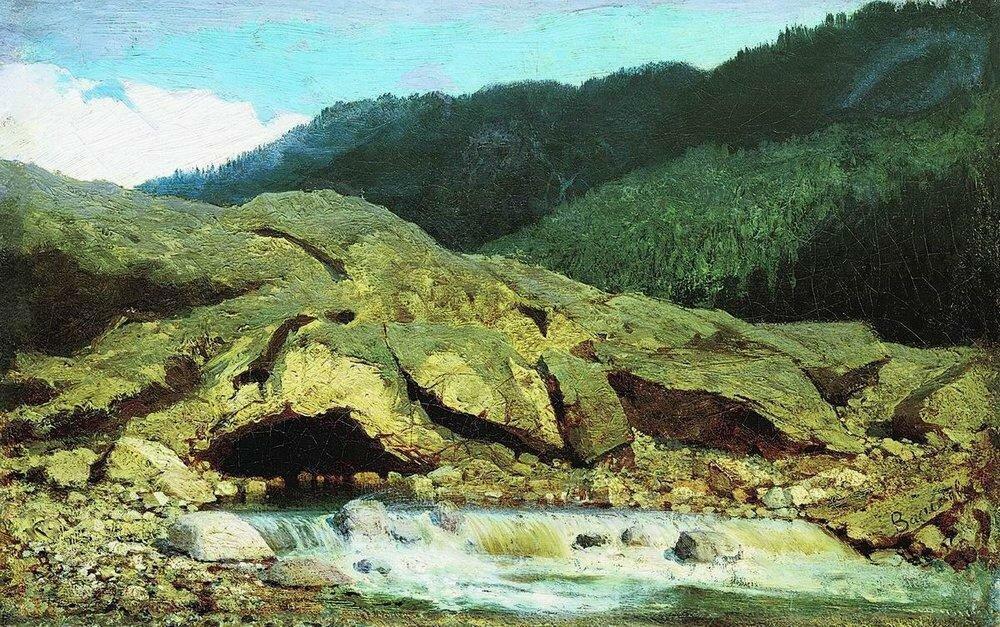 Пейзаж со скалой и ручьем. 1867.jpg