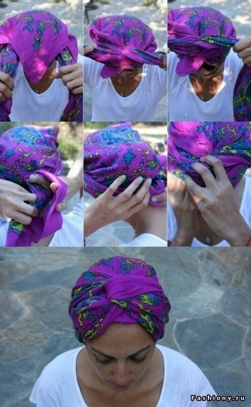 Как красиво завязать платок на голову пошагово