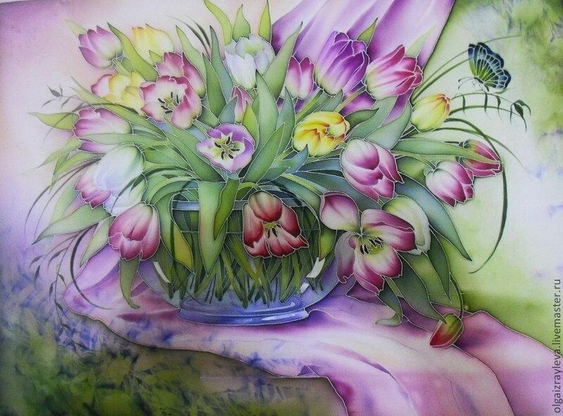 """Панно """"Тюльпаны в стеклянной вазе"""""""
