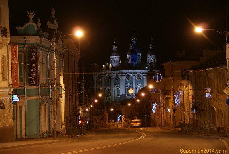 ночной Смоленск - вид на Успенский собор