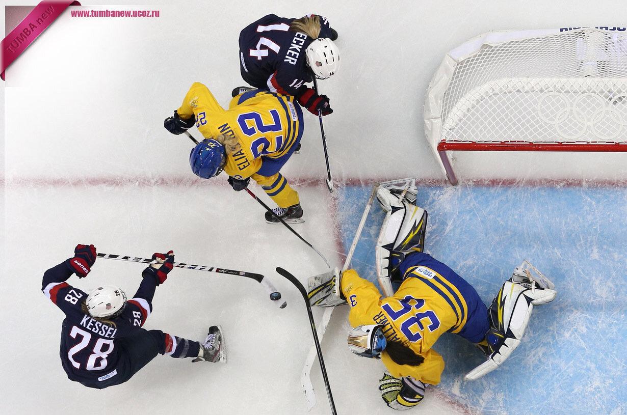 Россия. 17 февраля. Во время матча по хоккею между женскими сборными США и Швеции. (REUTERS/Laszlo Balogh)
