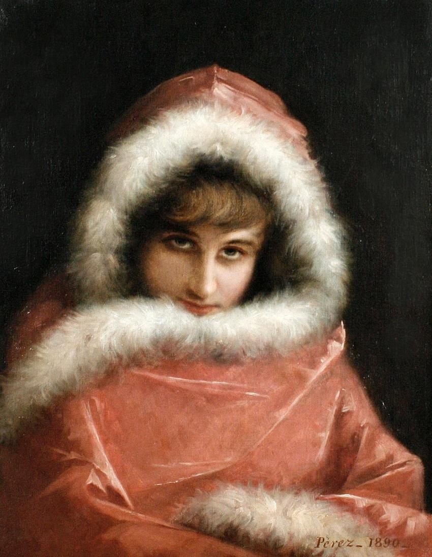 A cloaked beauty, 1890