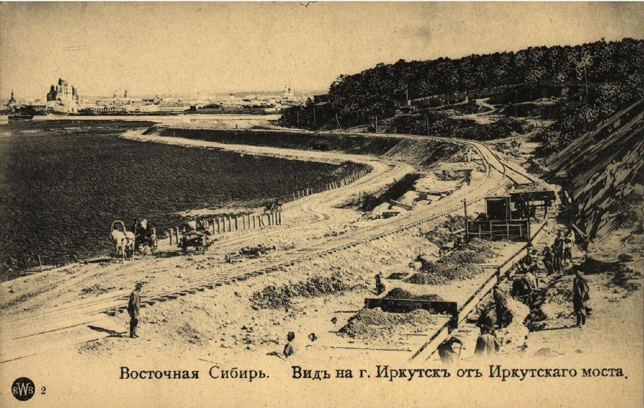 Вид на город Иркутск от Иркутского моста
