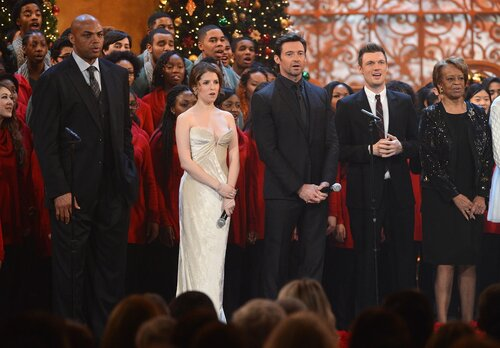 WASHINGTON, DC - DECEMBER 15: (L-R) Charles Barkley, Anna Kendrick, Hugh Jackman, Nick Carter, and Marian Shields Robinson onstage at TNT Christmas in Washington 2013 at the National Building Museum on December 15, 2013 in Washington, DC. 24313_002_1005.