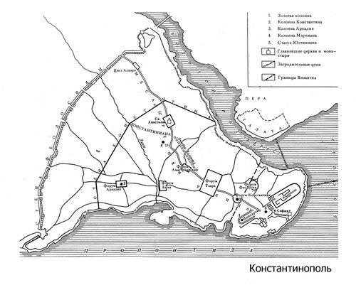 Схематичный план Константинополя времен Римской империи с размещение основных объектов