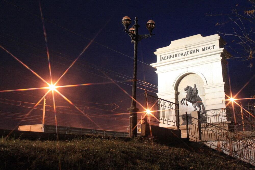 Ленинградский мост (проспект Победы) ночью (23.01.2014)