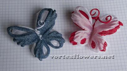 Бабочки из джинсовой и льняной ткани.