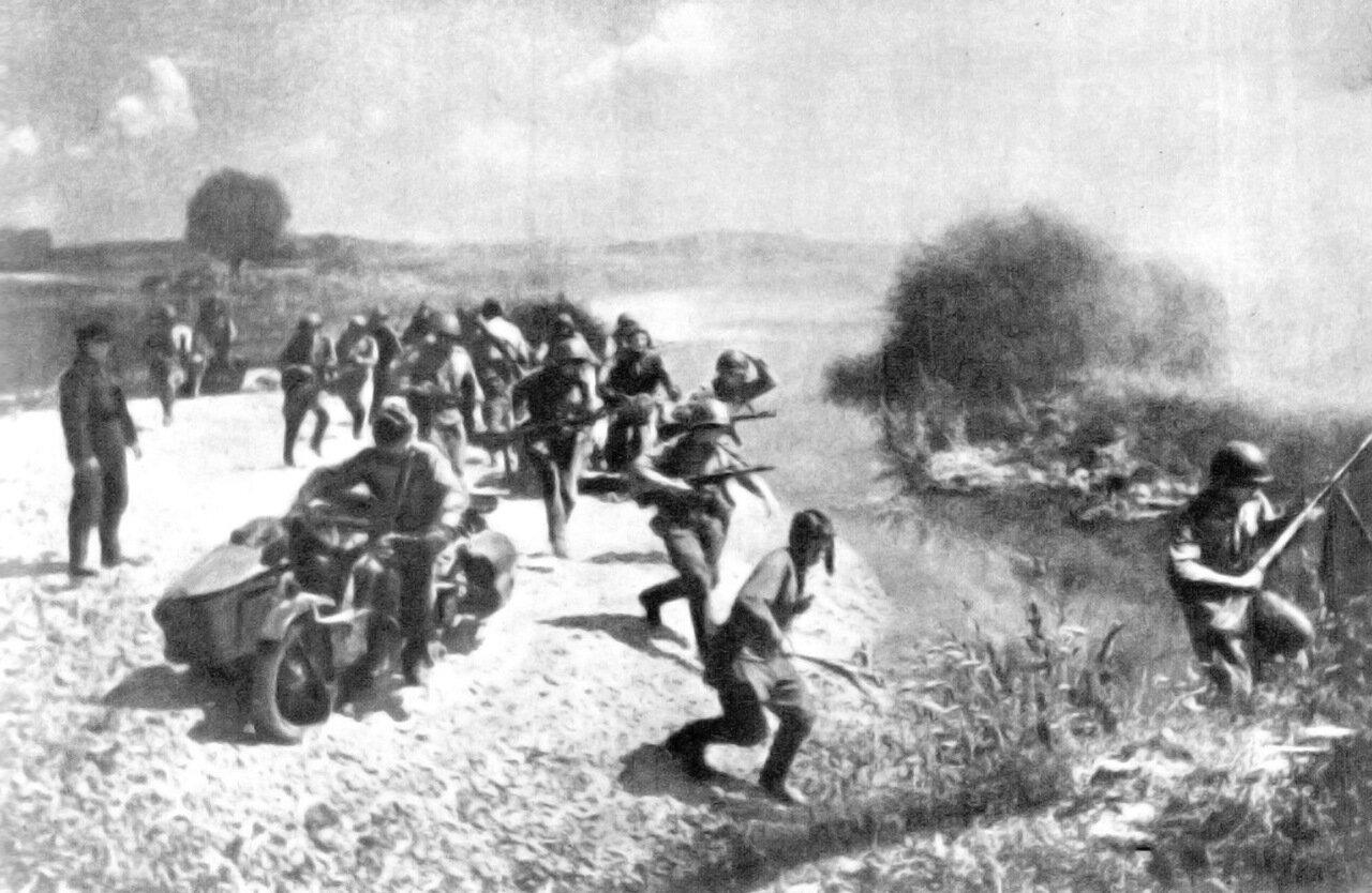 Солдаты 1-го Украинского фронта ведут бой за плацдарм на Висле.  Польша.