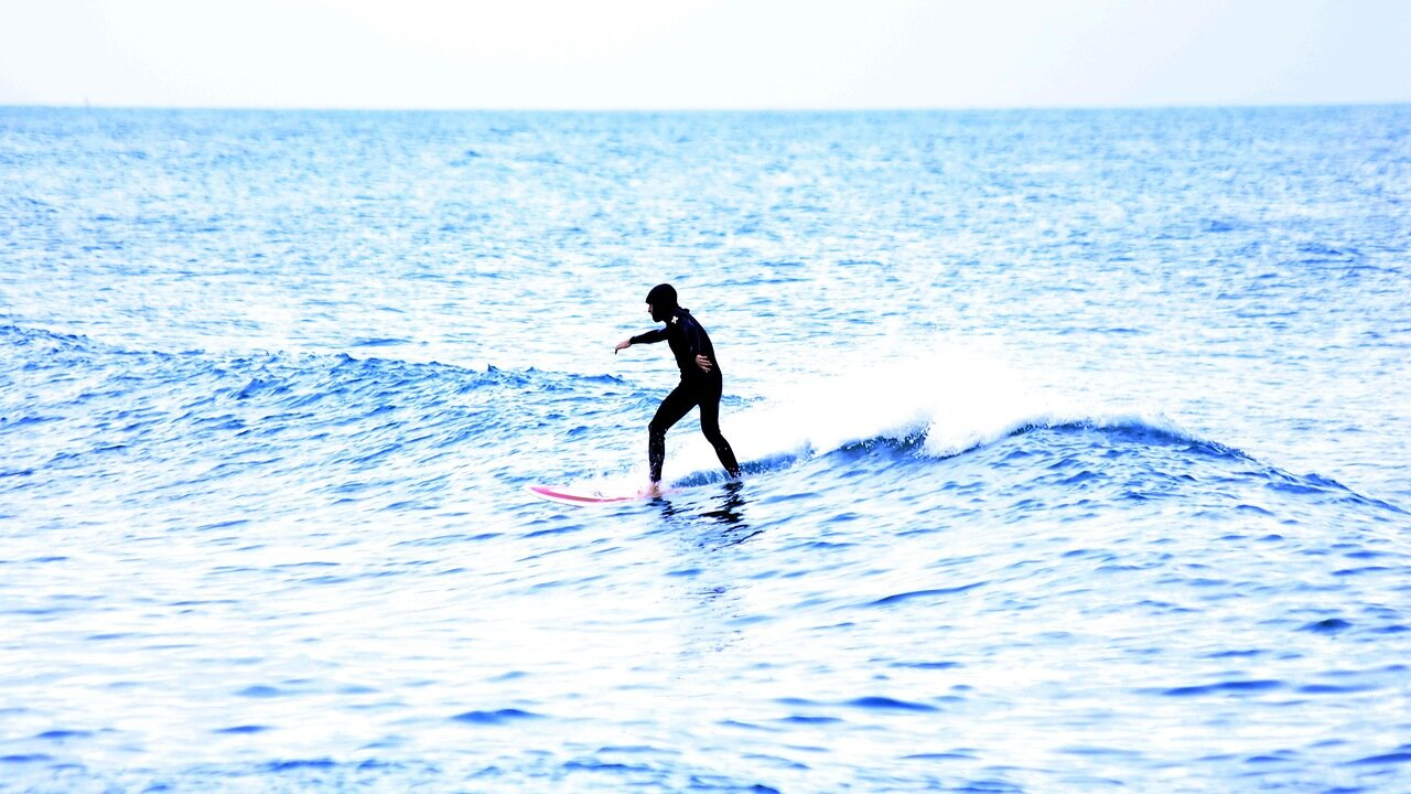 Barcelona.Of Barceloneta. The Beach Of San Sebastian. surfing. Platja de Sant Sebastià