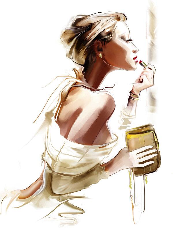 Открытки, открытка женщина стильная