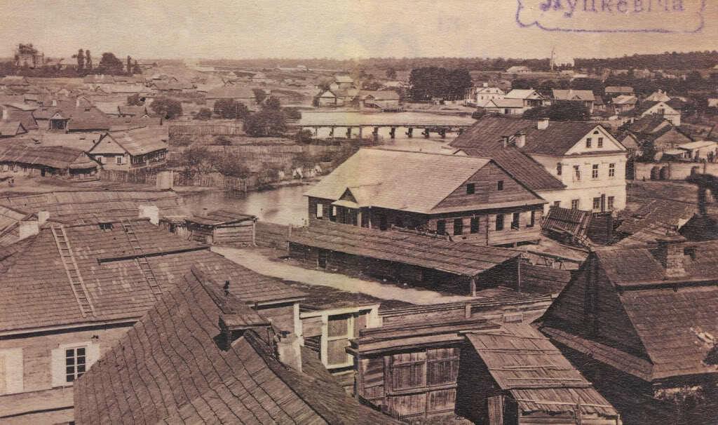 Плебанская плотина с мельницами. Фото 1860-х гг.