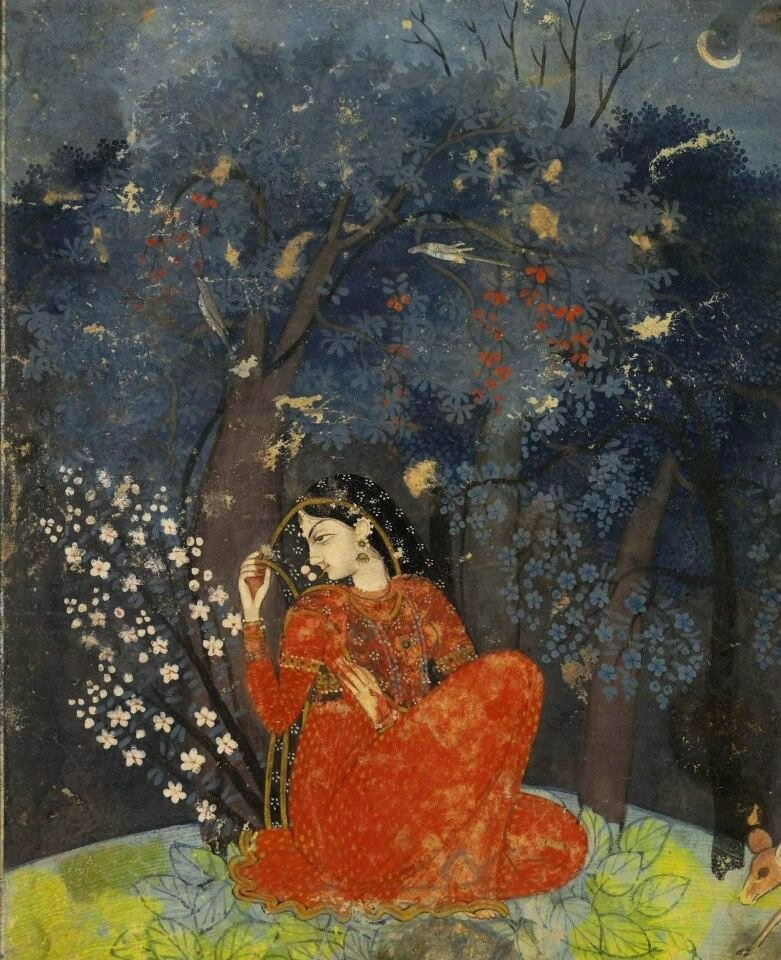 Utka Nayika - A lady awaits her lover in the forest ca 1775-1780