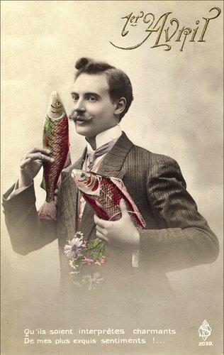 1 апреля. Джентельмен с рыбами открытка поздравление картинка