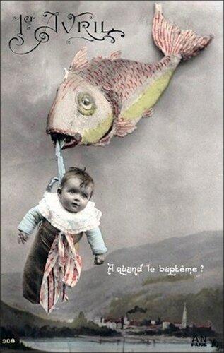 1 апреля. Рыба и дитя открытка поздравление картинка