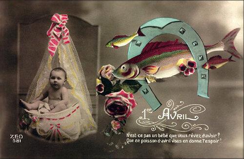1 апреля. Рыбы и дитя открытка поздравление картинка