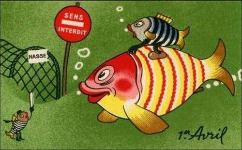 1 апреля. Рыбы открытка поздравление картинка