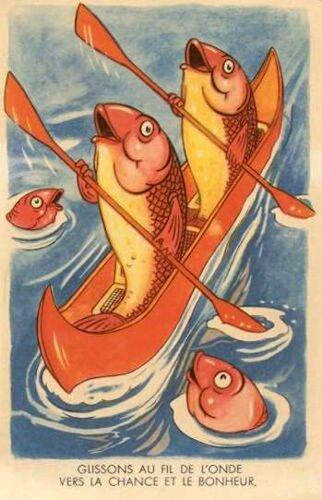 1 апреля. Рыбы-гребцы открытка поздравление картинка