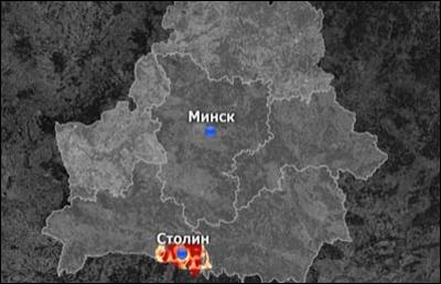 В Столинском районе загорелся полигон, произошло семь взрывов